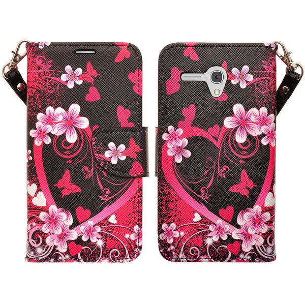 Alcatel Pixi Glory, Flint Case, Fierce XL, Jitterbug Smart Wallet Case - heart butterflies - WWW.COVERLAB.USA