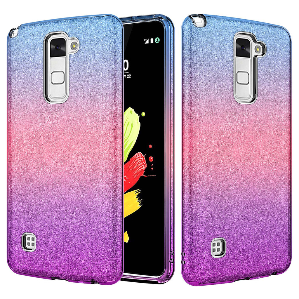 low priced 543de 94dcd LG Stylo 2 Plus Case, Slim Glitter Shine Hybrid TPU Case with reinforced  Polycarbonate backing for Stylo 2 Plus - Blue