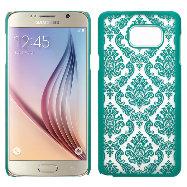 Samsung Galaxy Note 5 Case, Ultra Slim Damask Vintage Hard Case Cover - Teal - www.coverlabusa.com