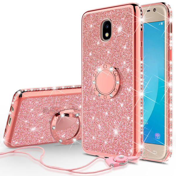 samsung galaxy j3 (2018) glitter bling fashion case - rose gold - www.coverlabusa.com