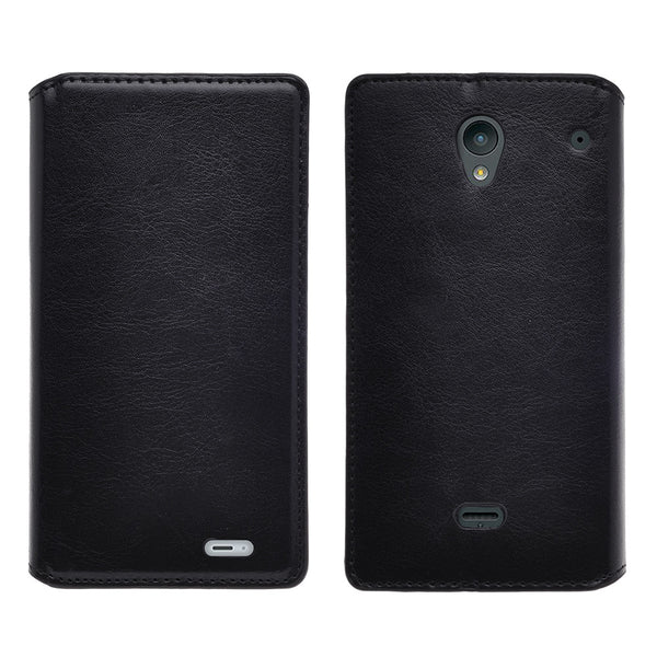 sharp aquos crystal leather wallet case - black - www.coverlabusa.com