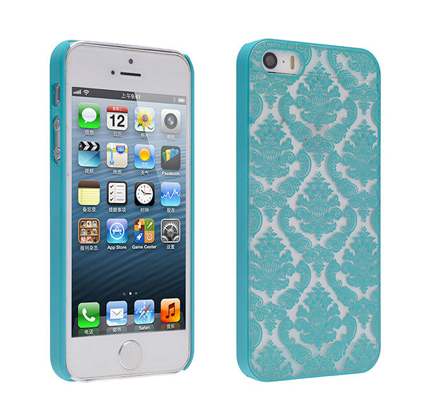 iPhone SE Case | iPhone 5S/5 damask-teal- www.coverlabusa.com