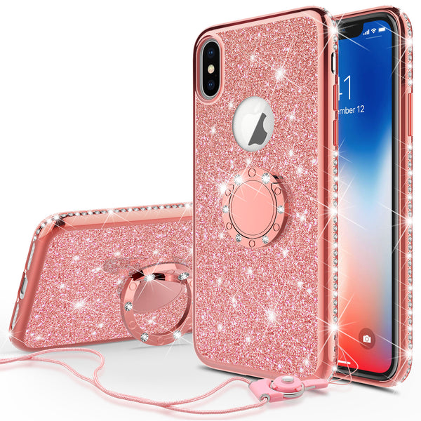 apple iphone xr glitter bling fashion case - rose gold - www.coverlabusa.com