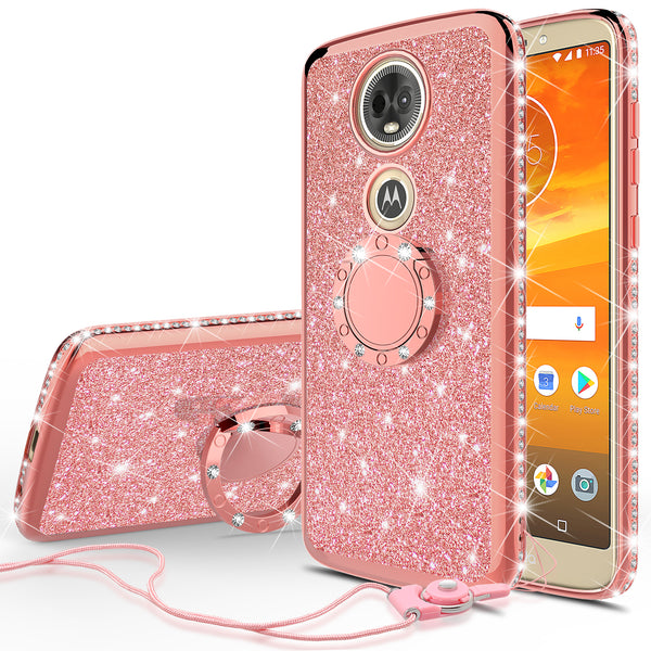 motorola moto e5 plus glitter bling fashion case - rose gold - www.coverlabusa.com
