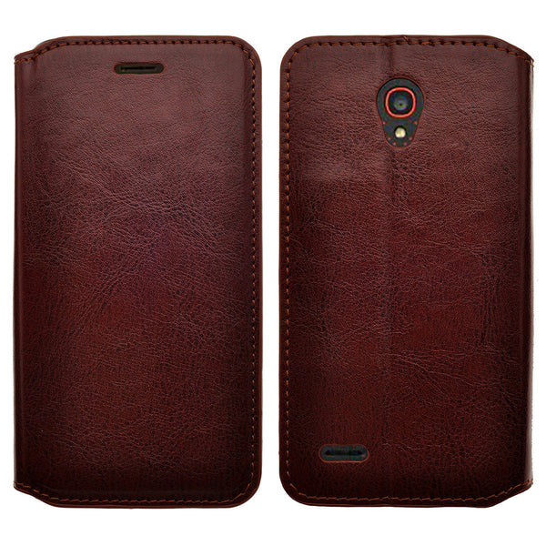 alcatel onetouch conquest leather wallet case - brown - www.coverlabusa.com
