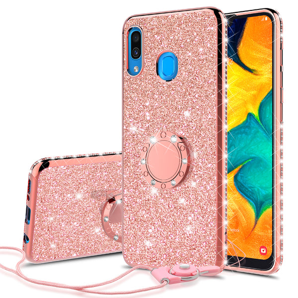 samsung galaxy a20 glitter bling fashion case - rose gold - www.coverlabusa.com