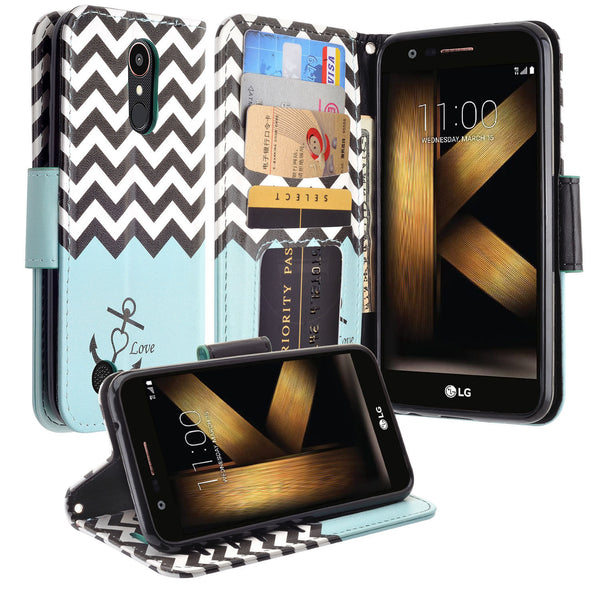LG K20 V Case, K20 Plus leather wallet case - teal anchor - www.coverlabusa.com