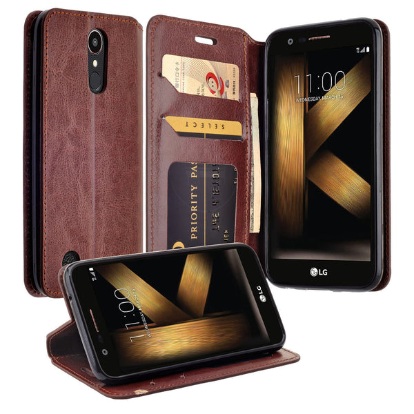 LG K20 V Case, K20 Plus leather wallet case - brown - www.coverlabusa.com