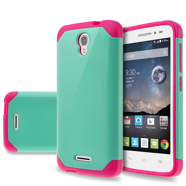 Alcatel OneTouch POP Astro Slim Hybrid Dual Layer Case - teal/hot pink - www.coverlabusa.com