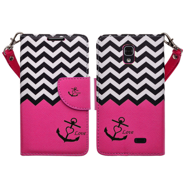 LG F70 Wallet Case [Card Slots + Money Pocket + Kickstand] and Strap - Hot Pink Anchor