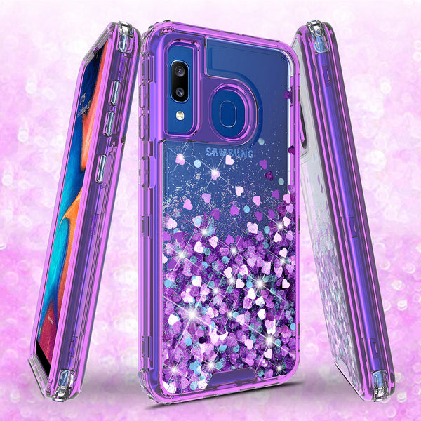 hard clear glitter phone case for samsung galaxy a20 - purple - www.coverlabusa.com