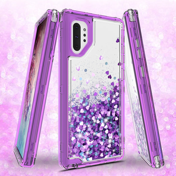 hard clear glitter phone case for samsung galaxy note 10 plus - purple - www.coverlabusa.com