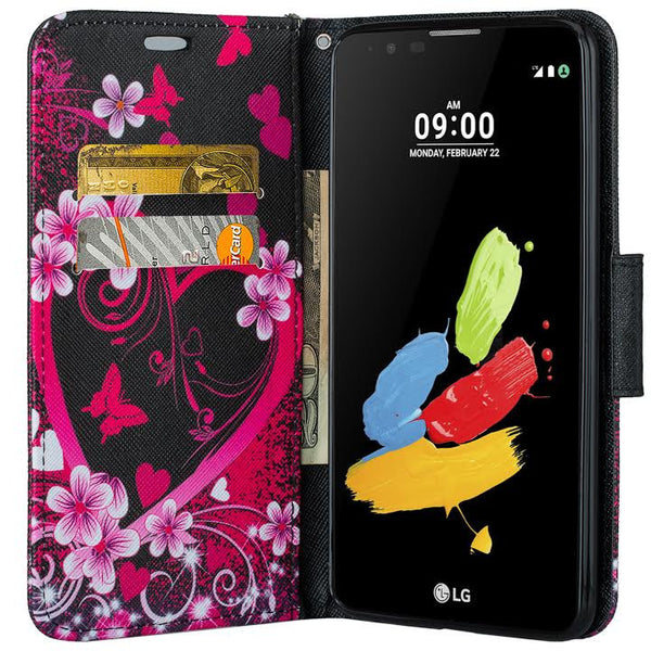 LG Stylo 2 Plus Wallet Case - heart butterflies - www.coverlabusa.com