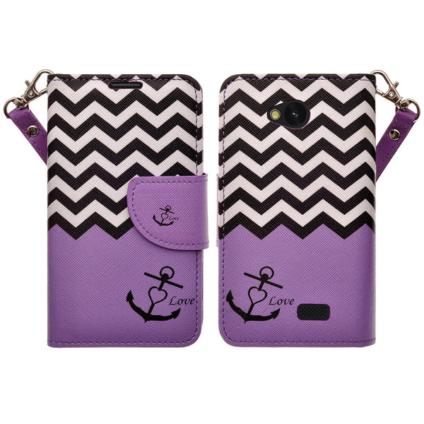 LG F60 Wallet Case [Card Slots + Money Pocket + Kickstand] and Strap - Purple Anchor
