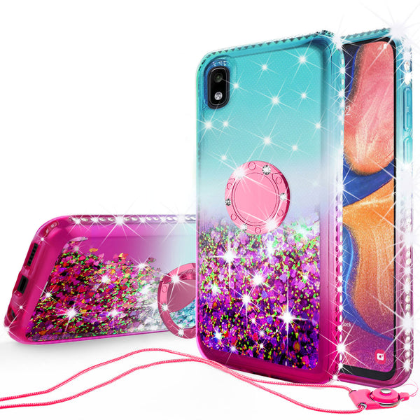 glitter phone case for samsung galaxy a10e - teal/pink gradient - www.coverlabusa.com