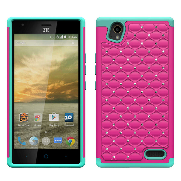 ZTE Warp Elite Rhinestone Case - Hot Pink/Teal - www.coverlabusa.com