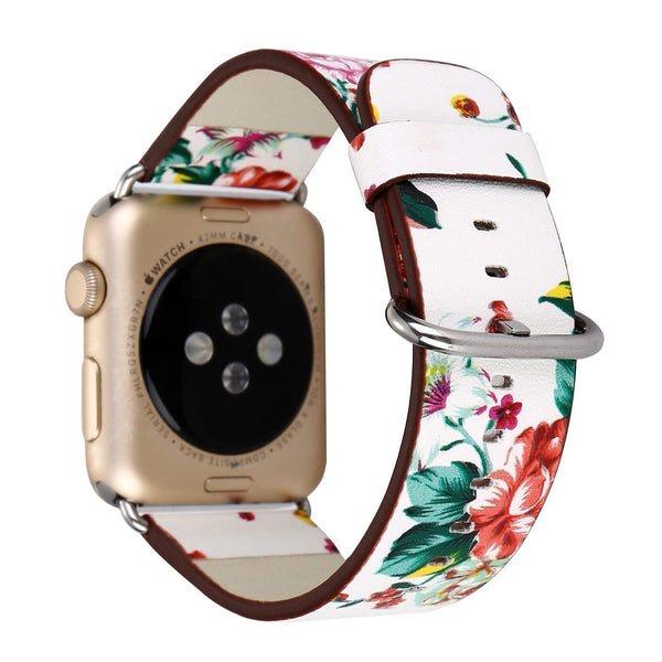 Black Floral Printed Leather Watch Band 38mm Strap - white red flower - www.coverlabusa.com