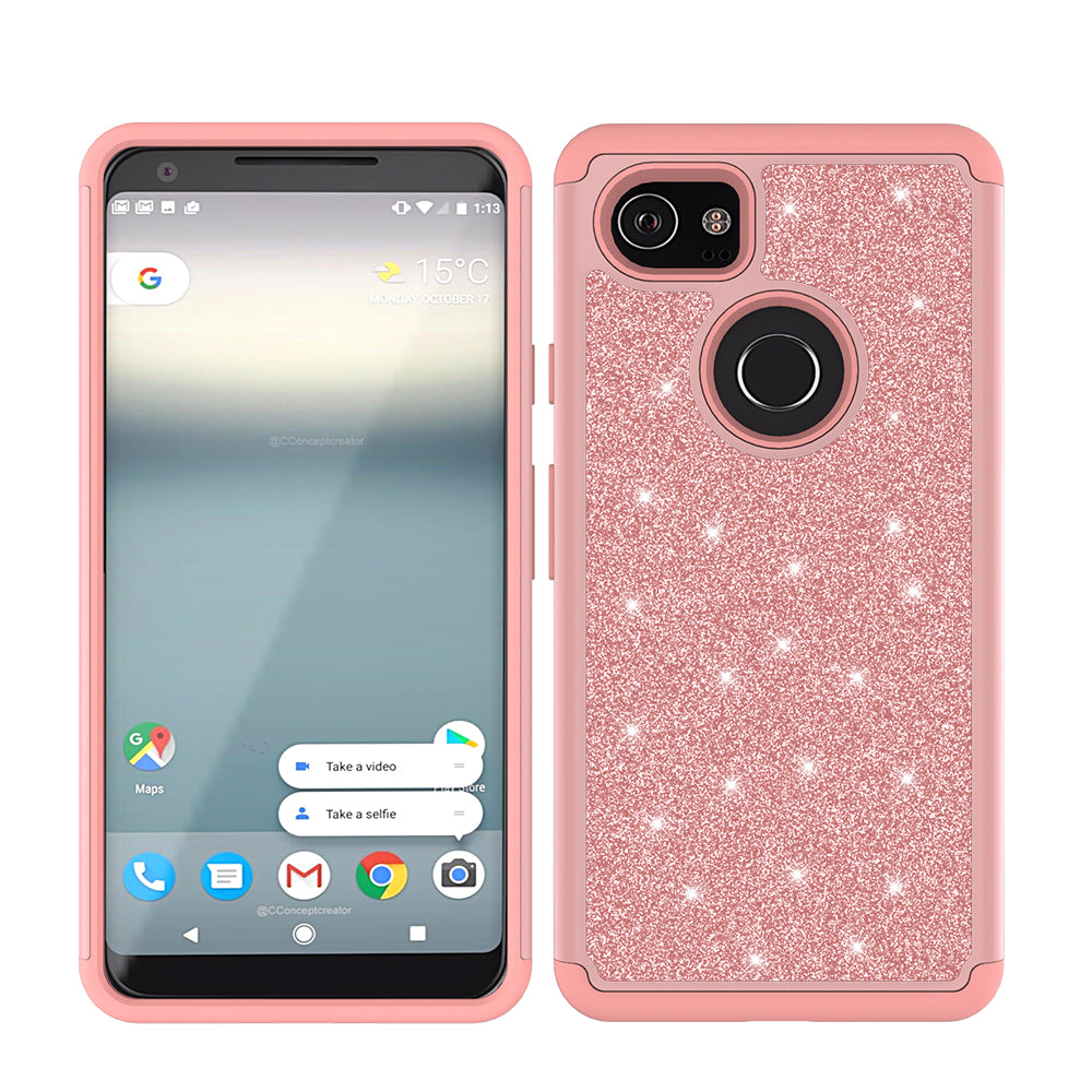 buy online fdfa5 2a09d Google Pixel 2 XL Case, Pixel 2 XL Glitter Bling Heavy Duty Shock Proof  Hybrid Case with [HD Screen Protector] Dual Layer Protective Phone Case  Cover ...