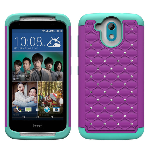 HTC Desire 526 Rhinestone Case - Purple/Teal - www.coverlabusa.com