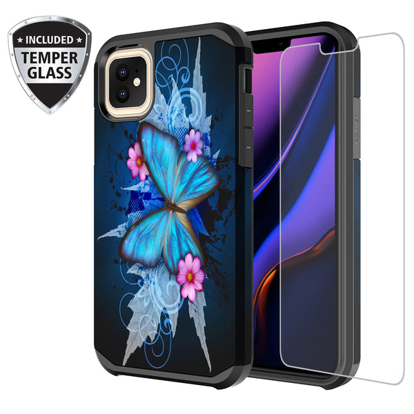 apple iphone 11 hybrid case - blue butterfly - www.coverlabusa.com
