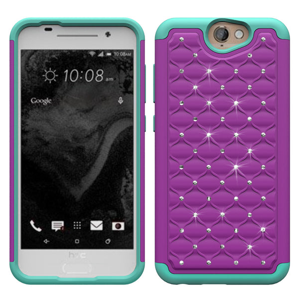 HTC One A9 Rhinestone Case - Purple/Teal - www.coverlabusa.com