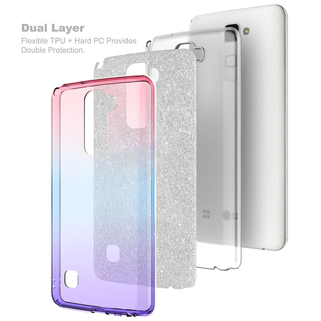 hot sale online 607c7 67ce7 LG Stylo 2 Plus Case, Slim Glitter Shine Hybrid TPU Case with reinforced  Polycarbonate backing for Stylo 2 Plus - Hot Pink