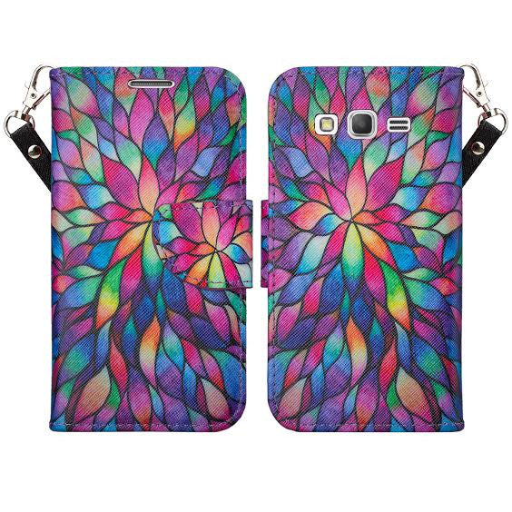 Galaxy go prime / Grand prime rainbow flower wallet www.coverlabusa.com