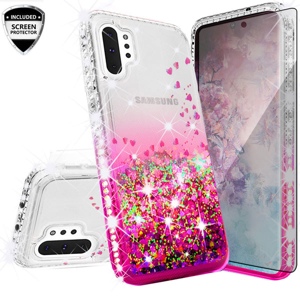 clear liquid phone case for samsung galaxy note 10 plus - hot pink - www.coverlabusa.com