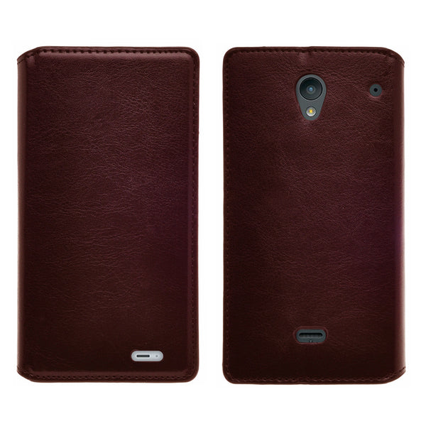sharp aquos crystal leather wallet case - brown - www.coverlabusa.com
