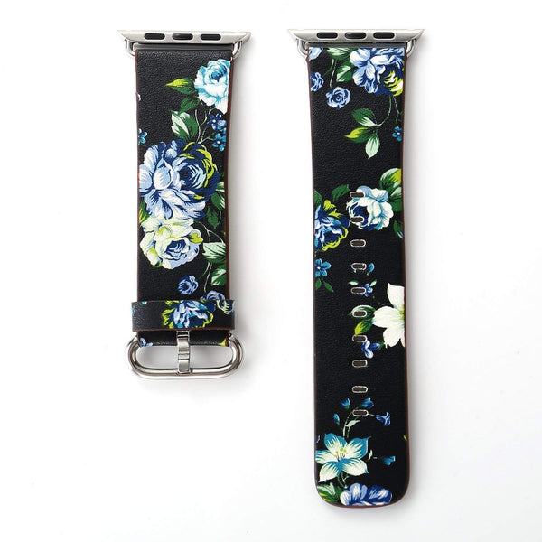 Black Floral Printed Leather Watch Band 38mm Strap - Black blue flower - www.coverlabusa.com