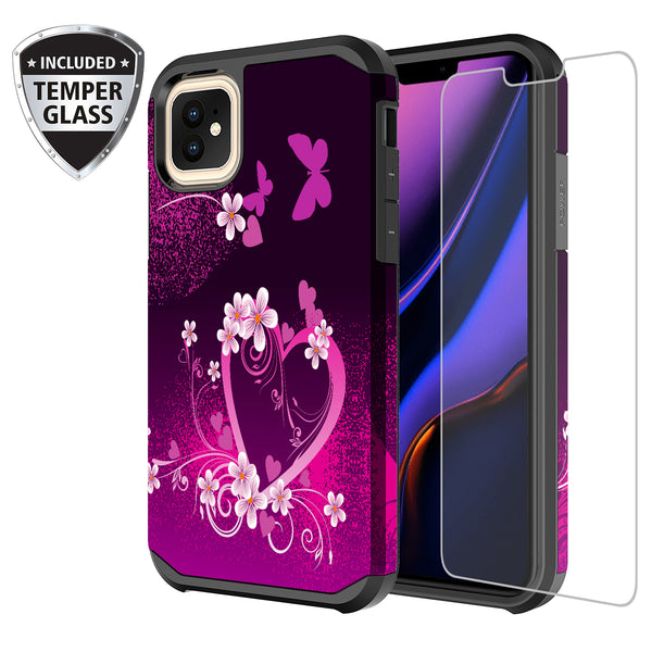 apple iphone 11 pro hybrid case - heart butterflies - www.coverlabusa.com