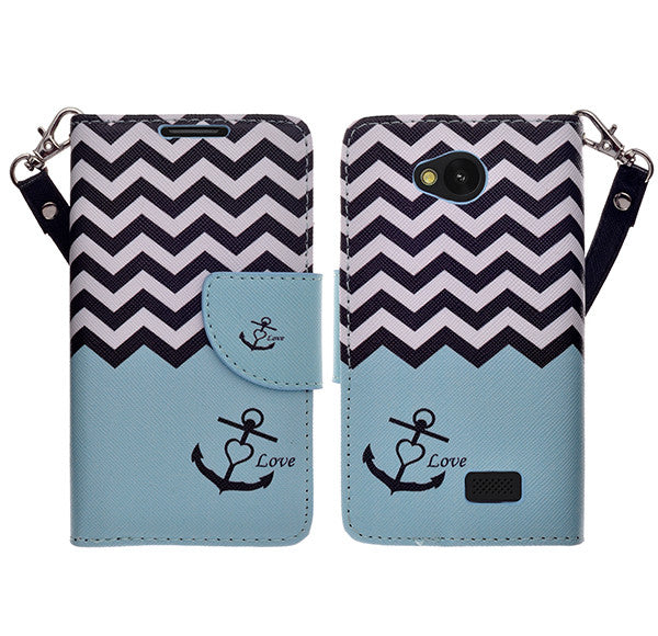 LG F60 Wallet Case [Card Slots + Money Pocket + Kickstand] and Strap - Teal Anchor