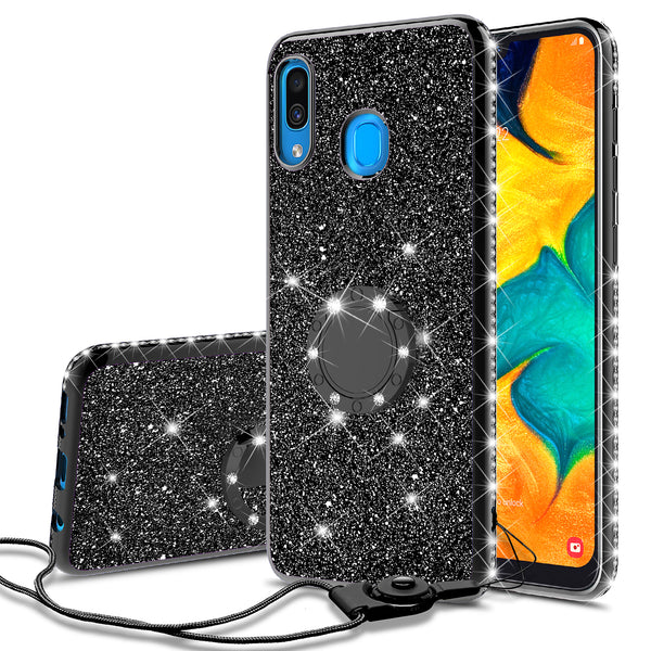 samsung galaxy a20 glitter bling fashion case - black - www.coverlabusa.com