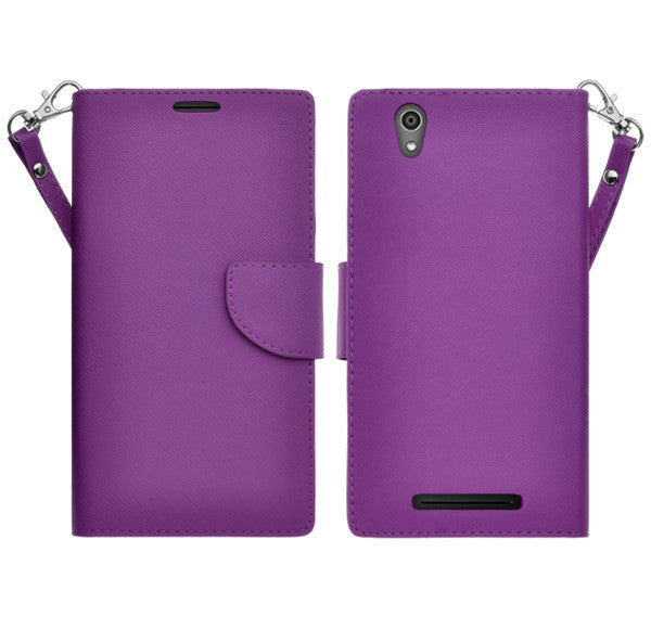 ZTE ZMAX leather wallet case - purple - www.coverlabusa.com