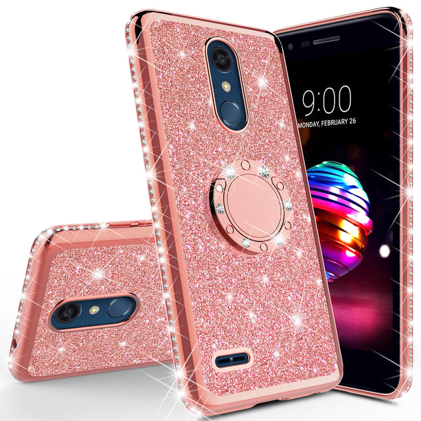 lg k40 glitter bling fashion case - rose gold - www.coverlabusa.com