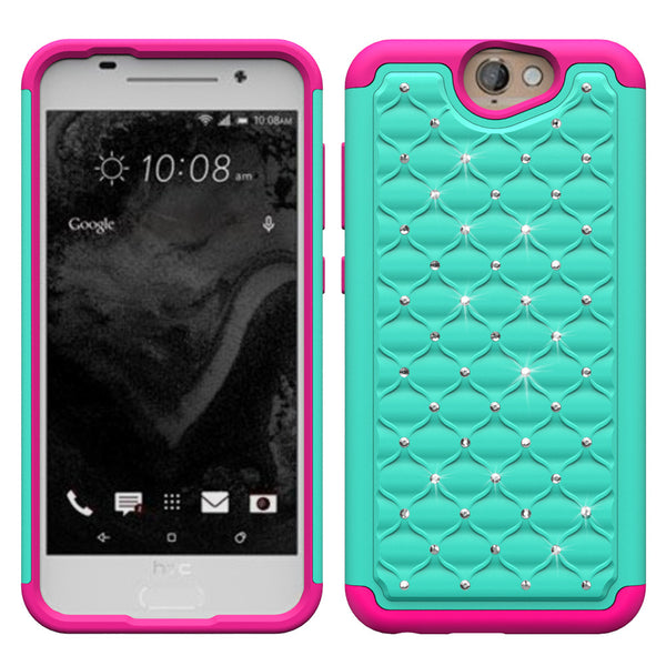 HTC One A9 Rhinestone Case - Teal/Hot Pink - www.coverlabusa.com