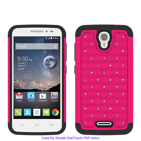 Alcatel OneTouch POP Astro Rhinestone Case - hot pink/black - www.coverlabusa.com