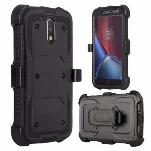 motorola moto g4, g4 plus heavy duty holster case - black - www.coverlabusa.com