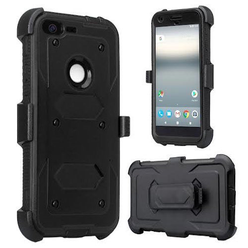 google pixel xl shockproof armor holster shell combo - black - www.coverlabusa.com