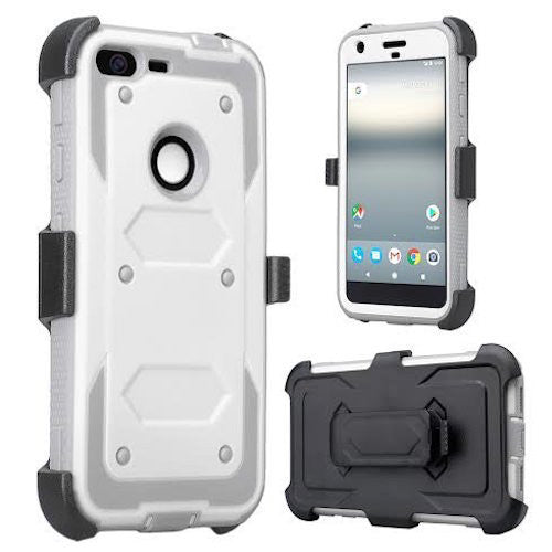 google pixel xl shockproof armor holster shell combo - white - www.coverlabusa.com