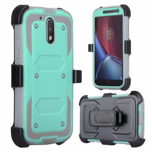 motorola moto g4, g4 plus heavy duty holster case - teal - www.coverlabusa.com