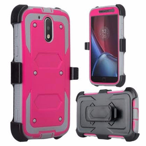 motorola moto g4, g4 plus heavy duty holster case - hot pink - www.coverlabusa.com
