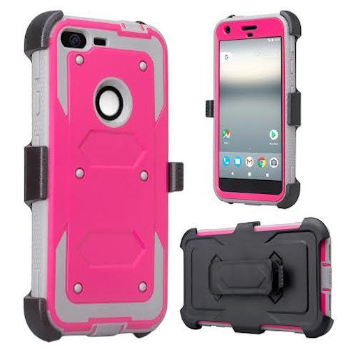google pixel xl shockproof armor holster shell combo - hot pink - www.coverlabusa.com