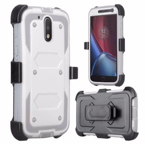 motorola moto g4, g4 plus heavy duty holster case - white - www.coverlabusa.com
