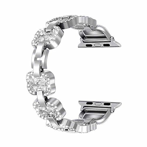 Bling Bands for Apple Watch Band 38mm Women Stainless Steel Metal - silver - www.coverlabusa.com
