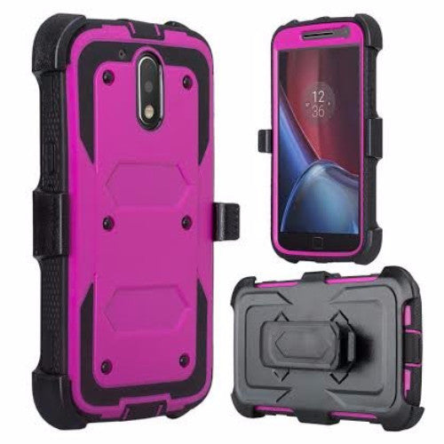 motorola moto g4, g4 plus heavy duty holster case - purple - www.coverlabusa.com