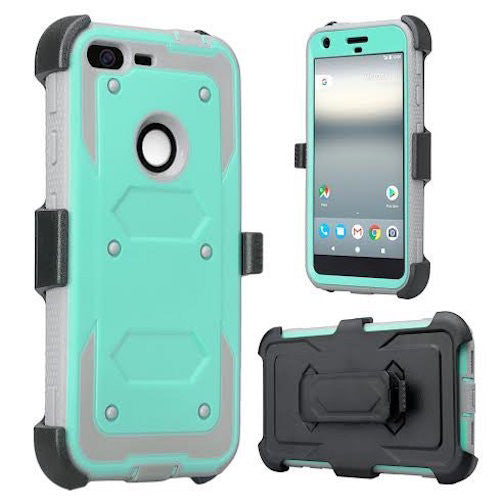 google pixel xl shockproof armor holster shell combo - teal - www.coverlabusa.com