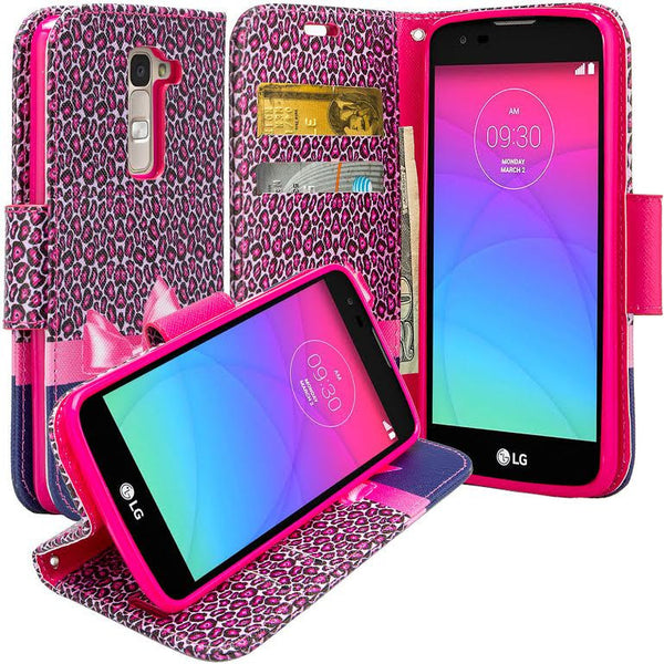 LG K7 / Tribute 5 / Treasure Wallet Case, Wrist Strap [Kickstand] Pu Leather Wallet Case - HOT PINK CHEETAH www.coverlabusa.com