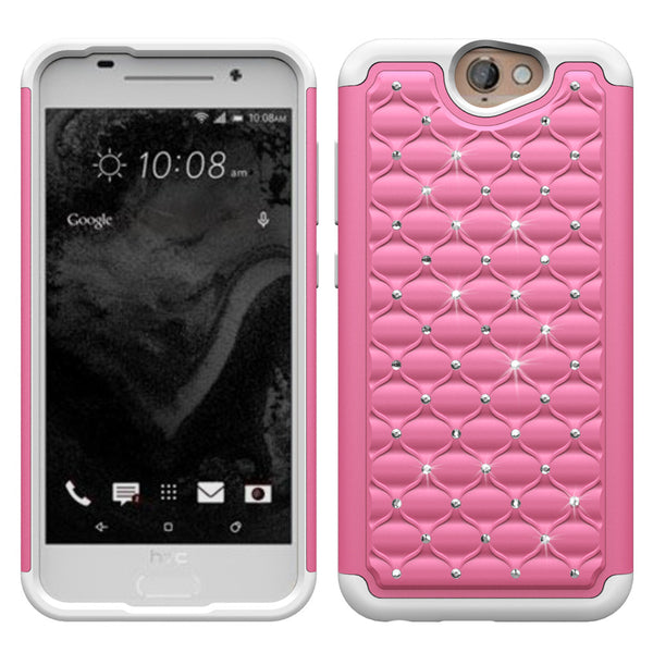 HTC One A9 Rhinestone Case - Pink/White - www.coverlabusa.com