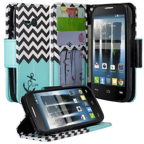 Alcatel Pixi Eclipse Wallet Case, teal anchor, www.coverlabusa.com